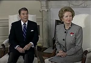 President Reagan Margaret Thatcher in a meeting